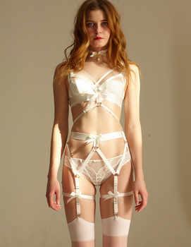 Lolita Kawaii Cat Meow 100% Handcrafted Sexy Harness Elastic Dumbo Sleeve Body Bondage Harness Leg Garter Belt Suspender