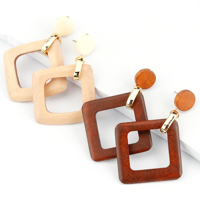 AENSOA Unique Trendy 11 Style Wood Drop Earrings For Women Statement Bohemia Geometric Earrings Fashion Jewelry Wholesale Summer