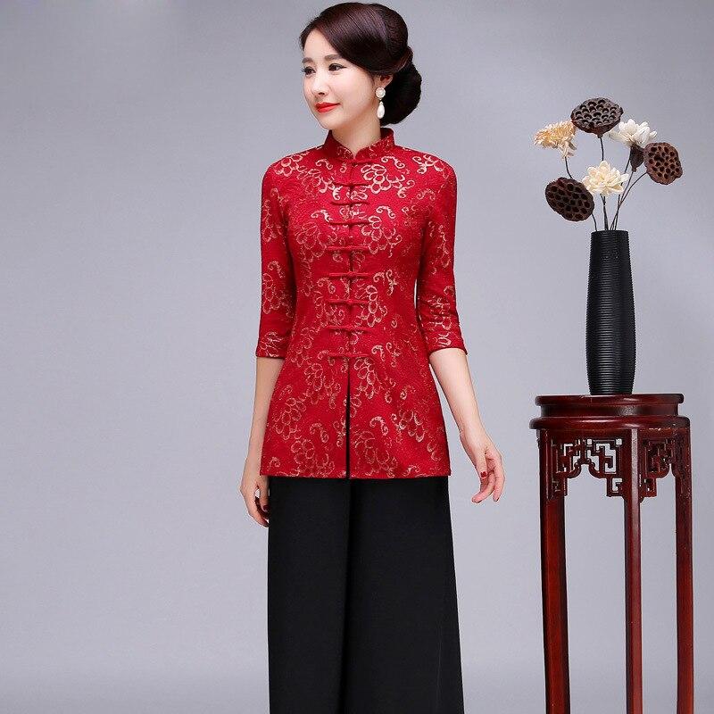 Nouveauté chinoise fleur femmes chemise Slim col Mandarin demi manches Blouse mère Vintage dentelle bouton Long hauts grande taille S-5XL