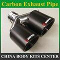 Y Модель  двойное углеродное волокно + нержавеющая сталь  Универсальная автомобильная выхлопная труба akrapovic для bmw benz vw golf