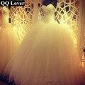 QQ Любовник 2017 Robe De Mariage Принцесса Bling Роскошные Кристаллы белое Свадебное Платье С Настоящее Аватар Сшитое Vestido Де Noiva