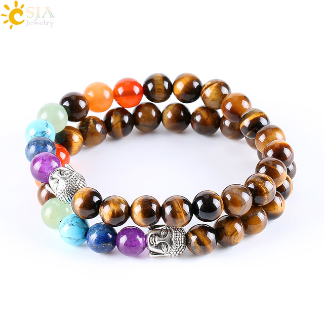 CSJA 8mm Natural Round Stone Tiger Eye Beads Buddha Bracelets 7 Chakra Healing Mala Meditation Prayer Yoga Women Jewellery E329 1