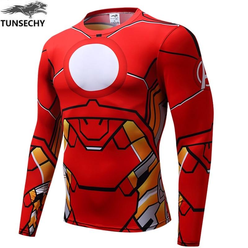 TUNSECHY Mens Compression T-Shirt Superhero Superman Capitan America Iron Man 3D Clothing Fitness Men Long sleeve T-Shirt