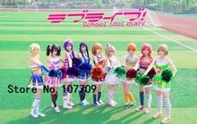 Love Live Honoka Kotori Umi Eli Nozomi Maki Rin Hanayo Nico Cheerleading cos Dress Cheering Squad  Cosplay Uniform Costume цена
