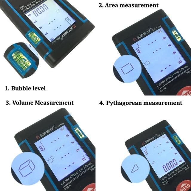 SNDWAY laser distance meter 40M 60M 80M 100M rangefinder trena laser tape range finder build measure device ruler test tool 5