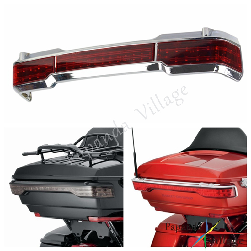 Papanda Motorcycle Chrome Running Brake Light LED Taillights For Harley Touring Classic King Electra Glide Tour Pack 1997-2008