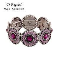 Fashion Sweetheart Jewelry For Women Daisy Flower Fine Retro Carved With Shine Rhinestone Wide Bracelet Hand