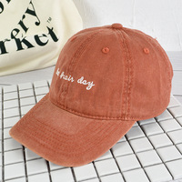 Hat women's new vintage washable old baseball cap hipster Korean version goes with monogram embroidery black cap man