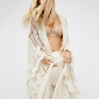 Bohemian White Lace Long Kimono Cardigan For Women Female Flare Sleeve Sexy Shirt Tops Beach Clothes Boho Blouses Outwear Cover