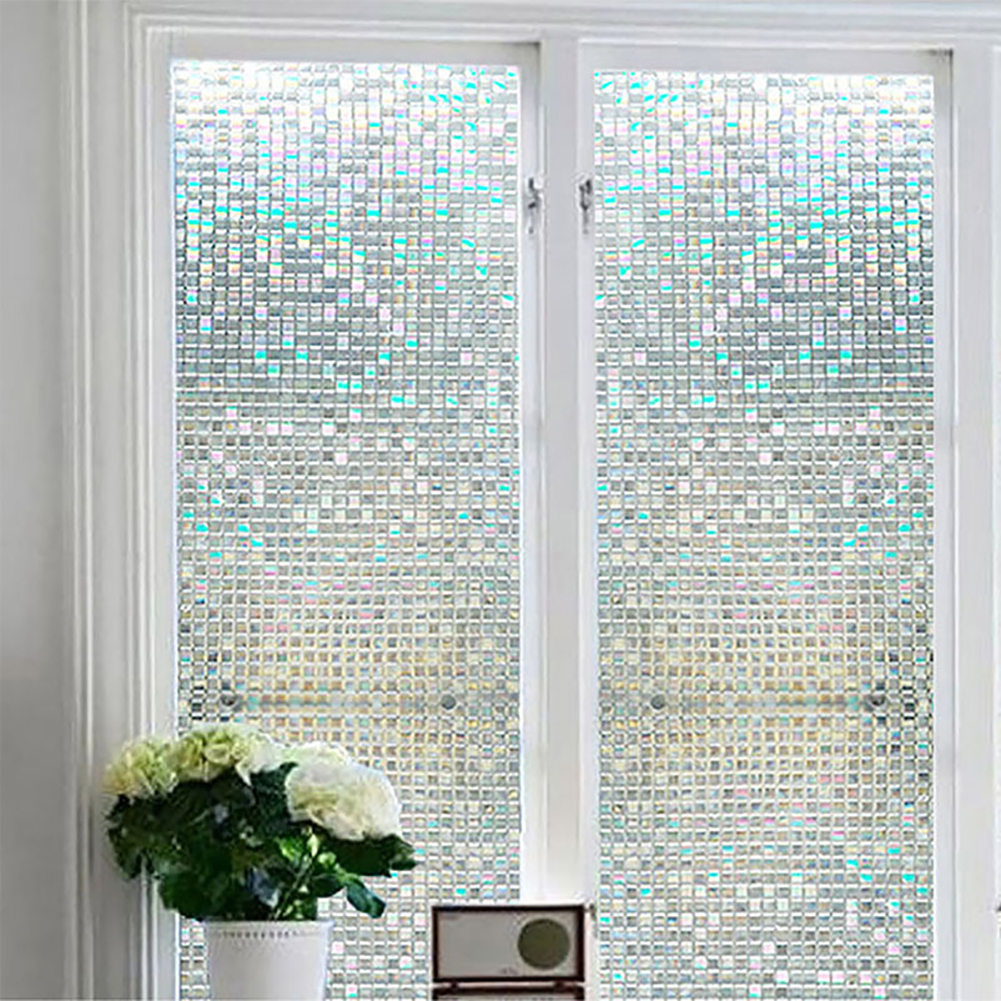 3D Bathroom Stickers Glue free Static Cling Mosaic Decorative Films Colorful Square Stained Glass Window Door Glass Film Decor in Decorative Films from Home Garden