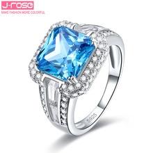 Jrose Mujeres 7.5ct Fine Dazzling Princesa Corte de Londres Topacio Azul Anillo de Cóctel Verdadero Genuino Esterlina del Sólido 925 de Plata Pura de Regalo