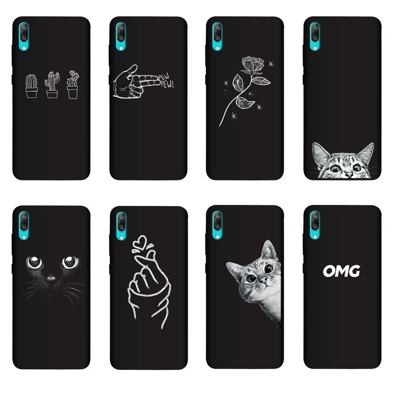 QAQsam Soft Silicone For Huawei Y7 2019 Case Cover Painting Matte Phone For Huawei Y7 Prime Pro 2019 Y72019 Cases Funda