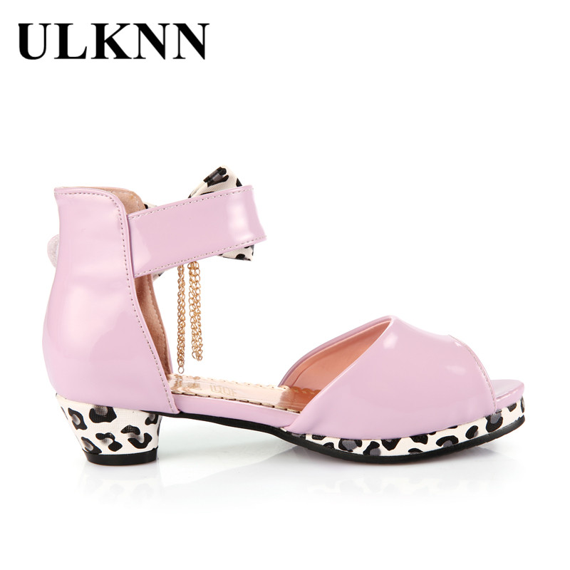 ULKNN Kids Sandals For Girls Summer Shoes Bowtie Peep-toe Open toe Children Shoes Girls Princess Low Heel Party Dress sandalias
