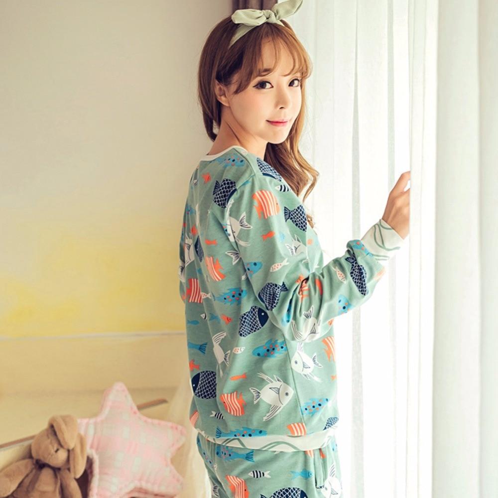 HOt Sale 2017 spring the autumn Pyjamas Women Girl nightgrown Sets Cartoon Sleepwear Pajamas for women Long-Sleeved Tracksuit