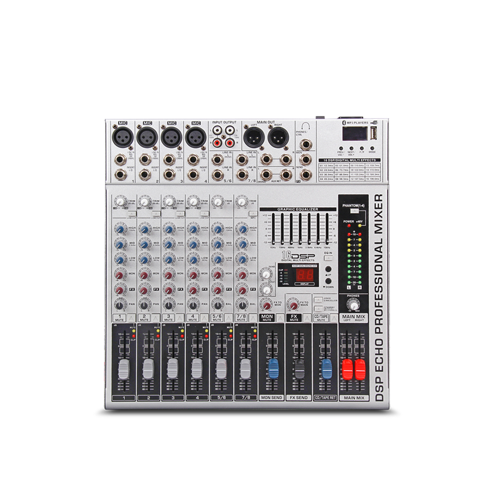US $117 71 21% OFF|G MARK GMX800 Professional audio mixer console Music dj  Studio 8 channels 4 mono 2 stereo 7 brand EQ 16 effect USB play-in