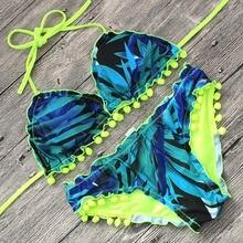 Новый Неоновый зеленый пикантный комплект бикини с принтом 2019