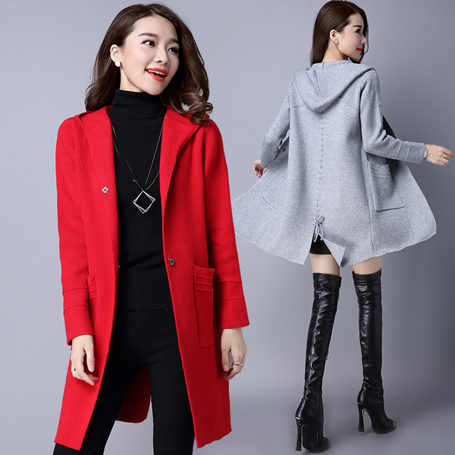 Women Wool Sweater Cardigan Women Sweater Cashmere Knitted Coat Fashion Long Sleeve Loose Knitted Sweater With Pockets Plus Size