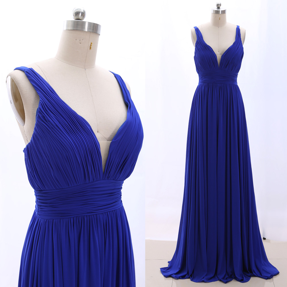 MACloth Blue A-Line V Neck Floor-Length Long Tulle   Prom     Dresses     Dress   S 265257 Clearance