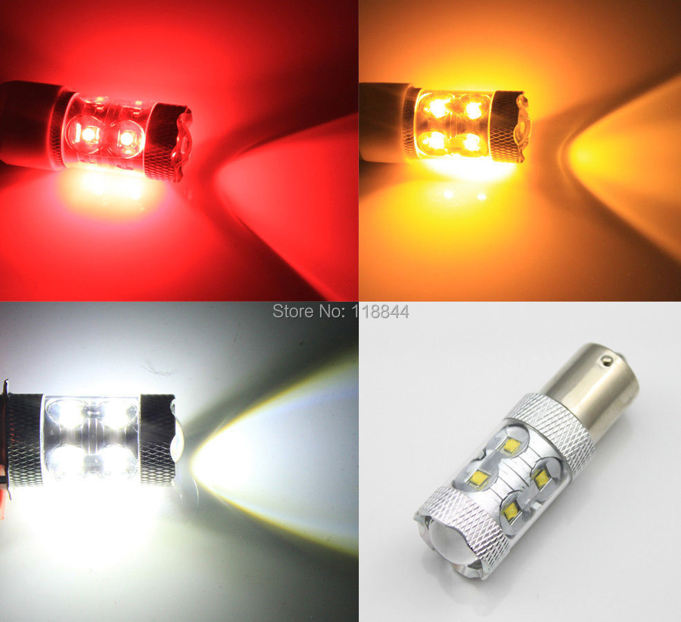 2Pcs 50W 1156 BA15S P21W High Power LED Car Turn Signal Brake Stop Reverse Back Up Light Bulb White Yellow Red Free Shipping