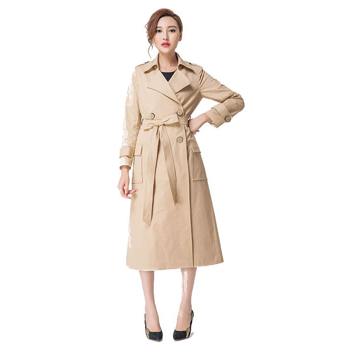 Womens Trench 16 Autumn Fashion Patchwork Double Breasted Solid Color Windbreaker Outwear Ultra Long Elegant Female Trench Coat