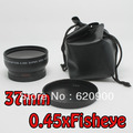 100% GUARANTEE Black 37mm 0.45x Wide Angle & Macro Conversion Lens 0.45x 37 + Front & Rear Cap  in package