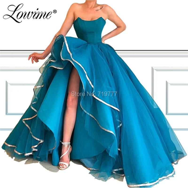 High Low   Prom     Dresses   Strapless Cheap Evening   Dress   Saudi Arabic Robe De Soiree Wedding Party Gowns 2019 Abiye Gece Elbisesi