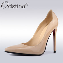 Odetina New Fashion Sexy Super High Heel Women 12cm Dress Pumps Pointed Toe Party Shoes Slip On Stiletto Red Heels Big Size 42 fashion sweet women 10cm high heels pumps female sexy pointed toe black red stiletto high heels lady pink green shoes ds a0295