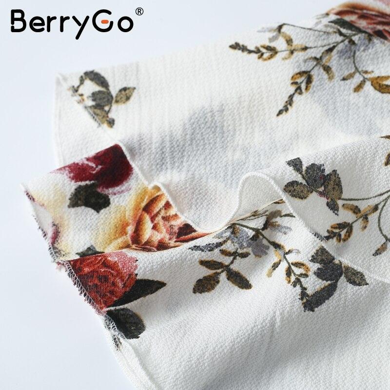 BerryGo lace up flower print summer dress women V neck ruffles bandage sexy dress Sleeveless party short dresses 5