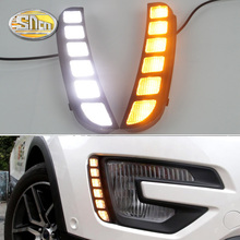 For Ford Explorer 2016 2017,Yellow Turn Signal Function Waterproof Car LED DRL 12V LED Daytime Running Light Daylight fog lamp стоимость