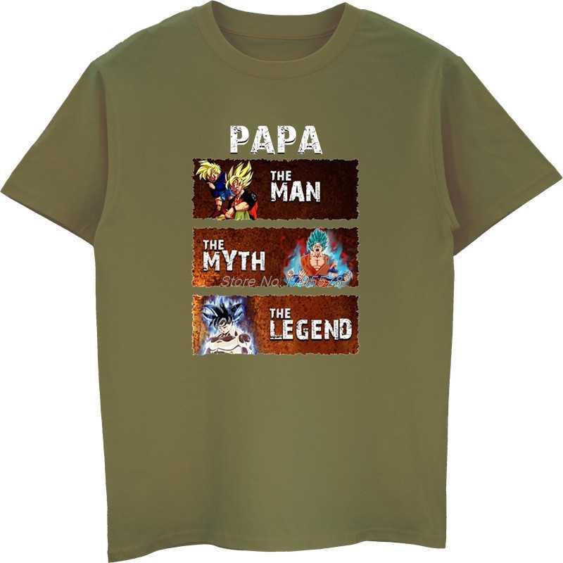 Футболка Goku Papa The Man The Myth The Legend Мужская хлопковая футболка с короткими рукавами одежда Dragon Ball Z рубашки в уличном стиле футболки топы