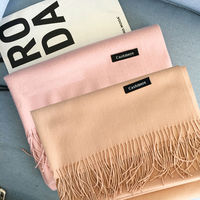 2016 High Quality Winter New Camel Women Artificial Cashmere Shawl Scarf Solid Color Wrap Long Tassels