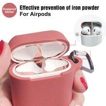 Adesivo protetor de poeira de metal para apple airpods caso ultra fino acessório adesivo protetor à prova de poeira proteção da pele para airpods 2