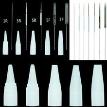 0.35*50mm Agulhas Ponteiras 1r, 2r,3r, 5r 3F/5F/7F Dermografo Universal Needles For Tattoo Permanent Makeup Eyebrow Machine