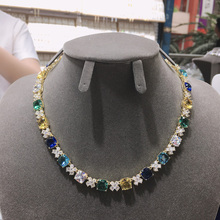 Hibride novo design quadrado pingente colar para festa de casamento feminino luxo cz jóias multi color mujer festa acessórios N 371