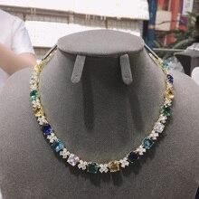 Hibride nowy wzór kwadrat naszyjnik dla kobiet wesele luksusowe CZ biżuteria wielobarwne Mujer akcesoria imprezowe N 371