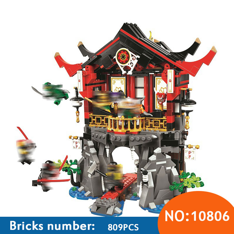 10806 Ninja series Temple of Resurrection Building Blocks Set DIY Educational Bricks Toys for children Compatible 70643 legoing chaos warriors caves 70596 ninja series 1307 building blcok set brick compatible 10530 toys for children gift