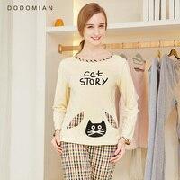 Spring Woman Pajama Set Cotton Nightwear Femal Bottom Suit Casual Tops Pants Lounge Cat Pajamas Plaid