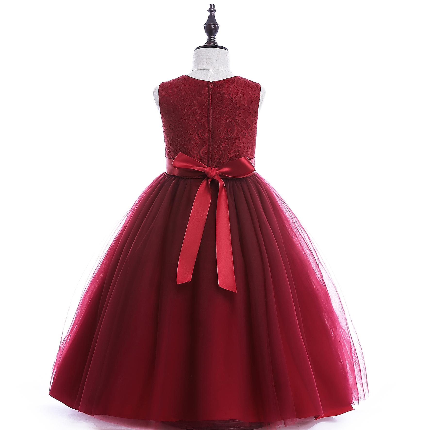 12c5c56a67ac1 US $24.51 18% OFF|POSH DREAM Burgundy Party Dresses for Kids Girl Lace  Tulle Flower Girl Wedding Costume Dress Peach Kids Girl Summer Party  Dress-in ...