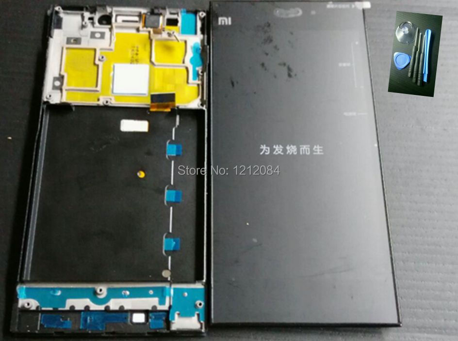 For xiaomi mi3 xiaomi m3 lcd display screen +frame +touch digitizer glass+free tools free shipping assembly