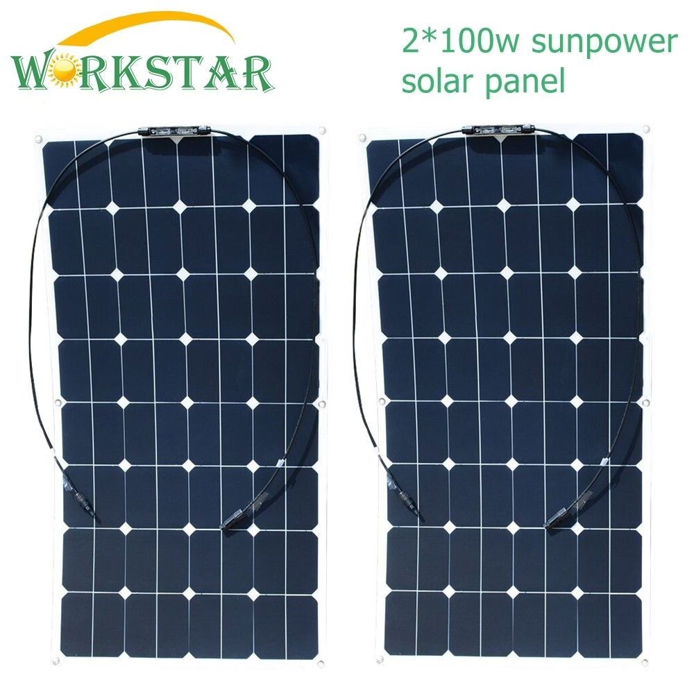 Workstar 2*100W Sunpower Flexible <font><b>Solar</b></font> <font><b>Panels</b></font> 18V <font><b>100</b></font> <font><b>watts</b></font> <font><b>Solar</b></font> Module Charger for RV/Boat 200W <font><b>Solar</b></font> Power System image