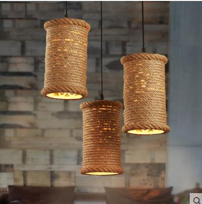 American country iron rope Pendant Lights loft creative personality retro Restaurant Bar Cafe Bar 1/3head Pendant Lamp ZA GY266 rural pastoral creative restaurant cafe personality wrought iron rope chandelier lamp internet cafe bar loft hemp rope lamp