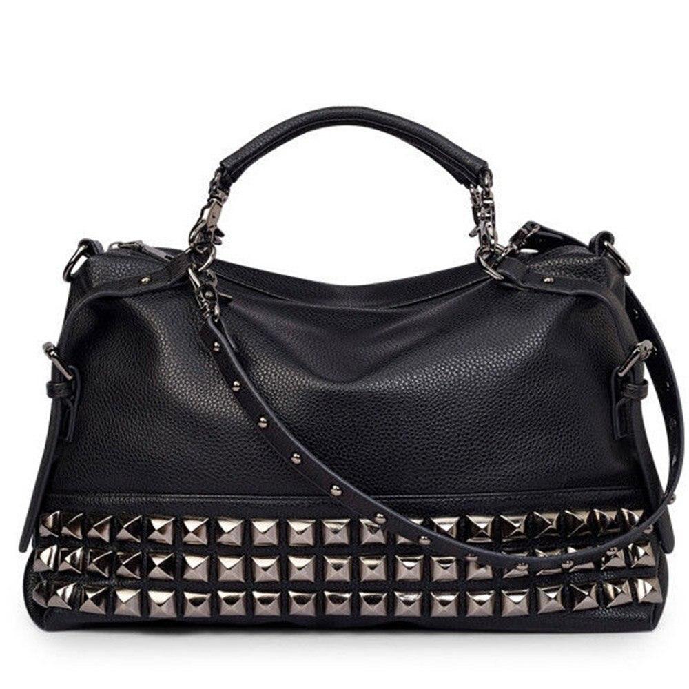 3ce15d85db1a FGGS-Women Modern Punk Pu Leather Cross Body Rivet Top-Handle Shoulder Bags  Hobo Tote Satchel Handbags For Lady