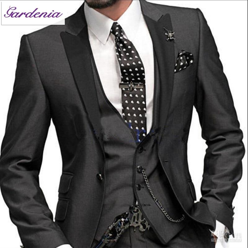 Latest Designs Black Shinny Wedding Dresses for Men Three Piece ...