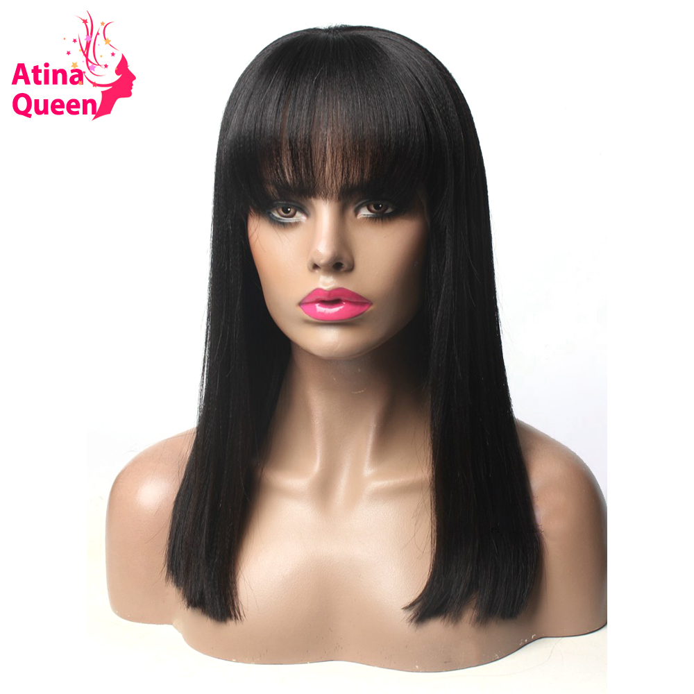 Atina Queen Yaki Straight Short Bob Wig Brazilian 150 Density Lace Front Human Hair Wigs with