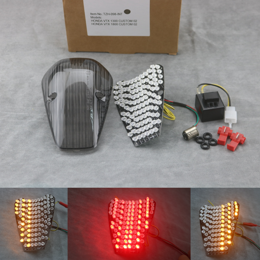 Motorcycle LED Turn Signal Tail Light Taillight For HONDA VTX 1300/1800 CUSTOM 02 led brake tail light for honda vtx 1300 1800 retro 1800t 2002 2008