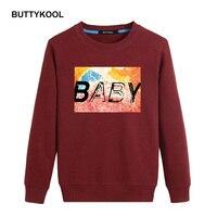 Buttykool גברים מזדמן קפוצ 'ונים של גברים חמים צמר קפוצ' ונים כותנה חולצות המודפסת clothing בתוספת גודל מותג למעלה איכות