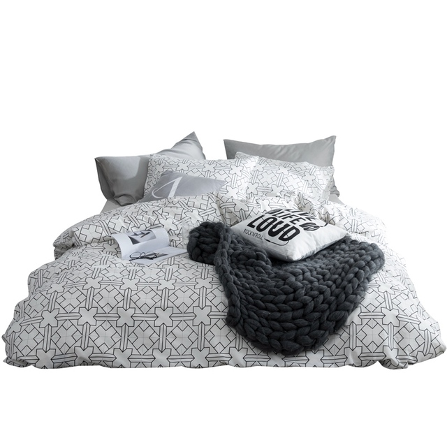 TUTUBIRD White And Black Bed Linen 100% Cotton Modern Brife Plaid Bedding  Set For Man Duvet Pillow Covers 4pcs Queen Twin Size