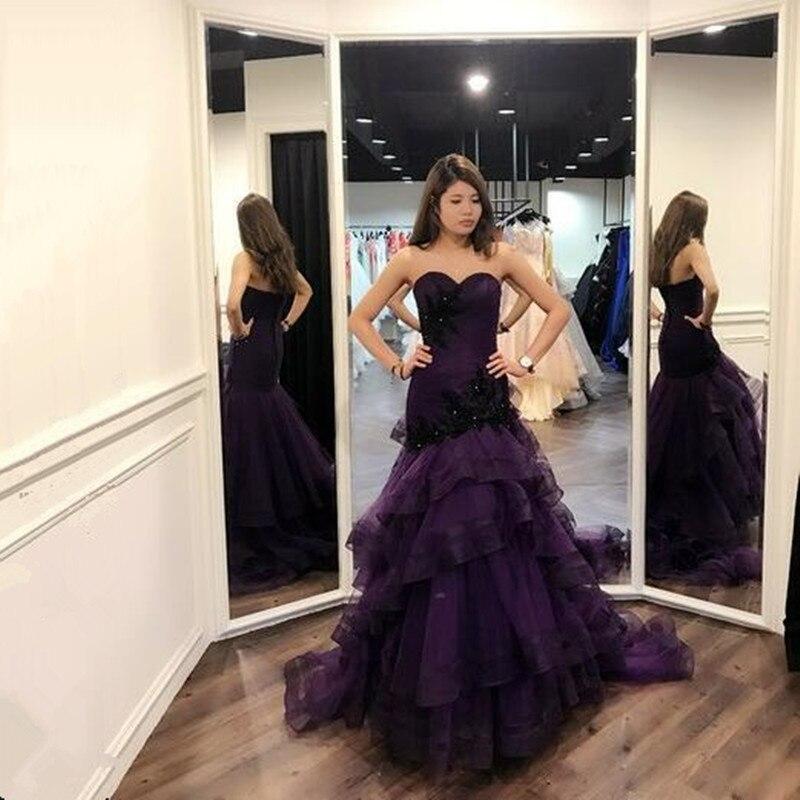 Luxury Robe De Soiree purple Mermaid   Evening     Dresses   Real Photos Pleat Tulle Beads Formal Long   Evening     Dress