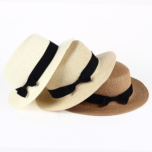 54c3c2465b9 VORON Lady Boater sun caps Ribbon Round Flat Top Straw beach hat Panama Hat  summer hats