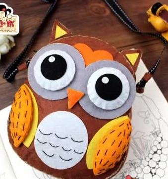 Owl Cartoon animal bag Fabric Felt kit Non-woven cloth Craft DIY Sewing set Felt Handwork Material DIY needlework supplies